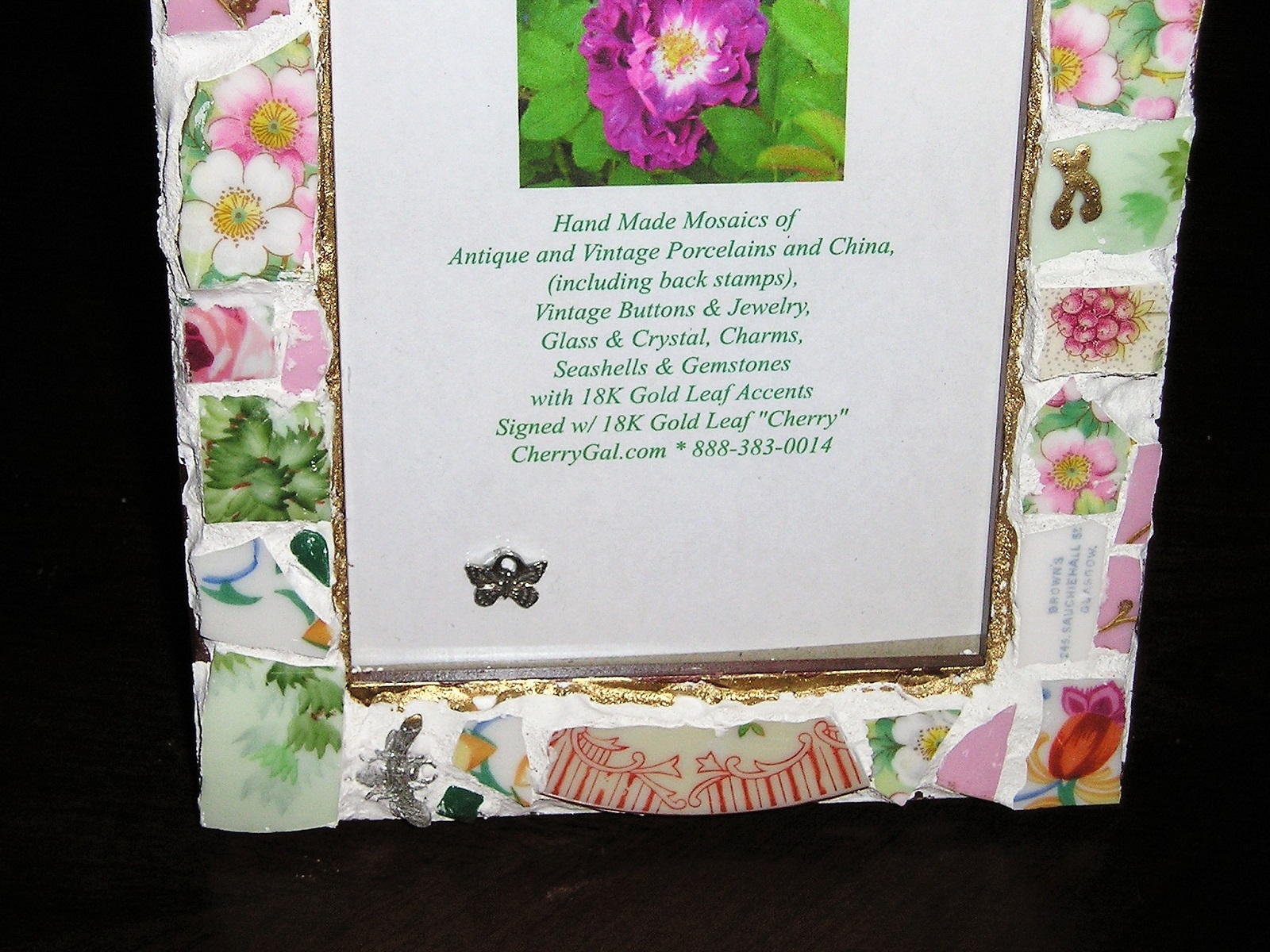 Fit Of Pique Genuine Pique Assiette Photo Frame 4 x 6 Pink Florals Escaped Butterfly