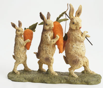 "RAGON HOUSE MARCHING BUNNIES 8"" MACHE FIGURINE"