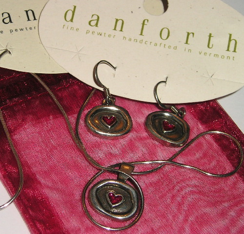 DANFORTH PEWTER NECKLACE AND EARRINGS SET RED HEART