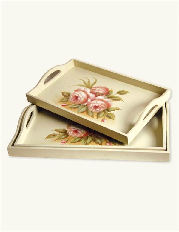 Roses tray set hand painted wooden set of 3 nested for Wooden canape trays