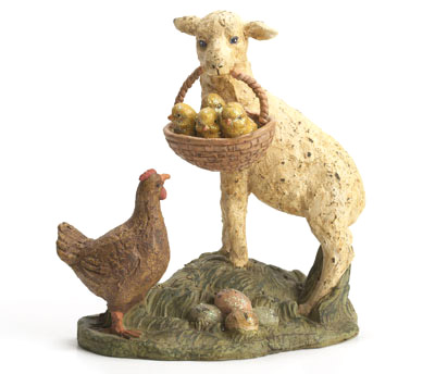"RAGON HOUSE LAMB WITH CHICKS 6.5"" MACHE FIGURINE"