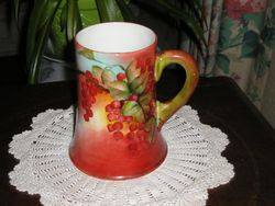 American Belleek CAC Hand Painted Stein Currants Signed Dated 1897