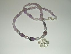 Fine 999 Silver Violet Amethyst Pearl Beaded Necklace Artisan Hand Made USA