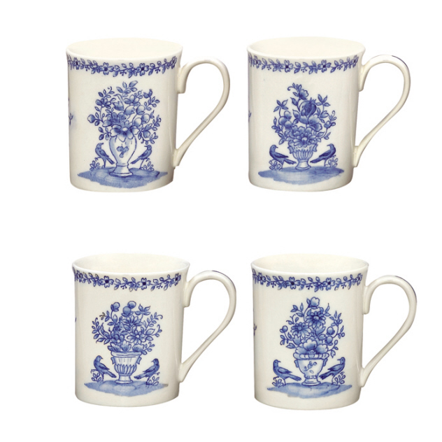 Colonial Williamsburg BLUE IN BLOOM Mug Set of 4