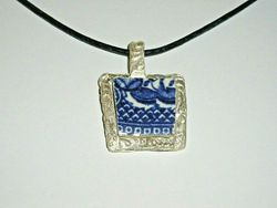 Blue Willow Blue Leather Fine Silver 999 Necklace Fit Of Pique Hand Made USA