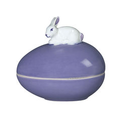 BUNNY Egg Shaped Candy Box Easter Purple Porcelain Sadek #20559