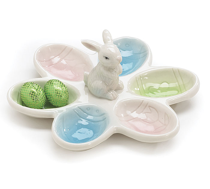 BUNNY Egg Dish Pastels Glazed Porcelain FDA Food Safe