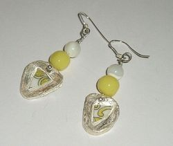 Fit Of Pique Deco Yellow Fine Silver Haskell Dangle Earrings Artisan Made USA