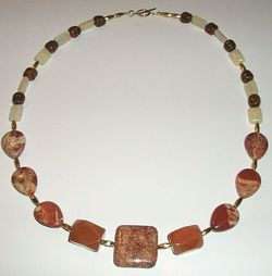 Fit Of Pique Flower Fossil Stone and Vintage Glass Beaded Necklace 14KGF USA