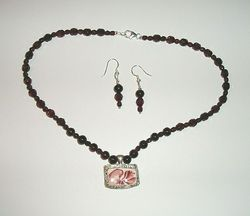 Garnet Floral Vintage Glass Fine Silver 999 Necklace Earrings Set Hand Made USA