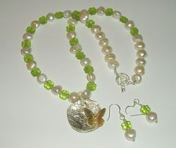 Green Flower 3-D Vintage Glass Cultured Pearls Necklace Earrings Set Fine 999 Silver