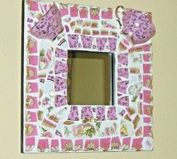 "Fit Of Pique Pink Cups Genuine Pique Assiette Mirror 10"" x 10"" Hand Made USA"