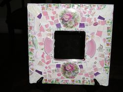 "Fit Of Pique Genuine Pique Assiette Mirror 10"" x 10"" Pink Unicorn Mayfair"