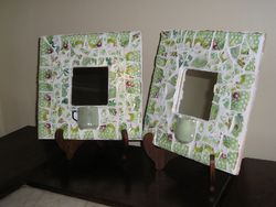 "Fit Of Pique Robinson & Jones Pair Genuine Pique Assiette Mirrors 10"" x 10"""