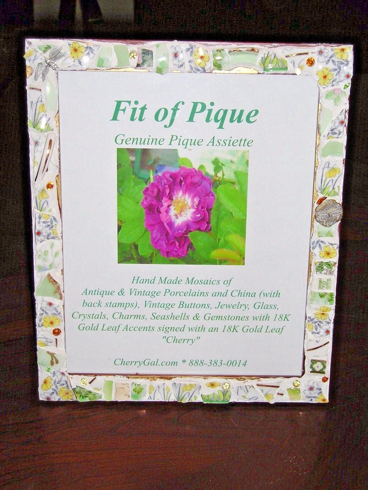 Fit Of Pique Genuine Pique Assiette Photo Frame 8 x 10 Yellow Floral Dragonflies