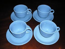 Genuine Fiesta PERIWINKLE BLUE Cups and Saucers Set of 4 Retired