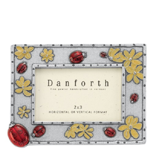 "LADYBUG Enameled Pewter Frame 2 Colors 2"" x 3"" Danforth Pewter USA"