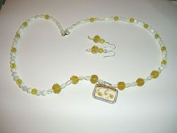 Lemon Drops Vintage Glass Fine Silver 999 Necklace Earrings Set Hand Made USA
