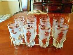 LIBBEY FROSTED 22 K GOLD LEAF LEAVES TUMBLER SET OF 8 IN BRASS CADDY MCM