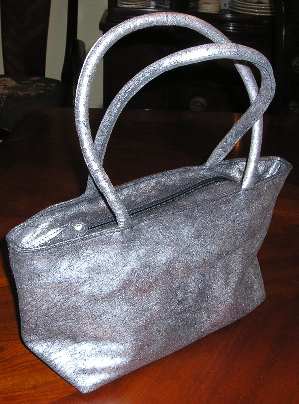 Olivia Riegel Distressed Leather Asia Bag Silver/Black