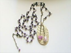 Fine Silver 999 Paisley Ingot Amethyst Gunmetal Necklace w/2 Charms Fit Of Pique