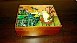 Vintage Japanese Hand Painted Musical Jewelry Box Cats Artist Signed M Kashiwagi