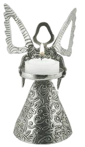 Pewter ANGEL Tea Light Holder Tin Woodsman Pewter Hand Made USA