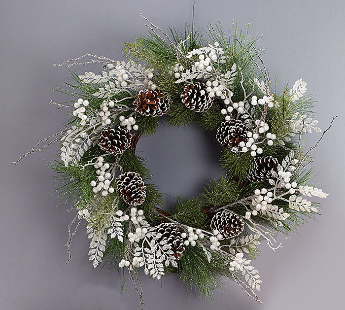White Christmas Wreath Green with Snow Frosted Pine Cones 27""