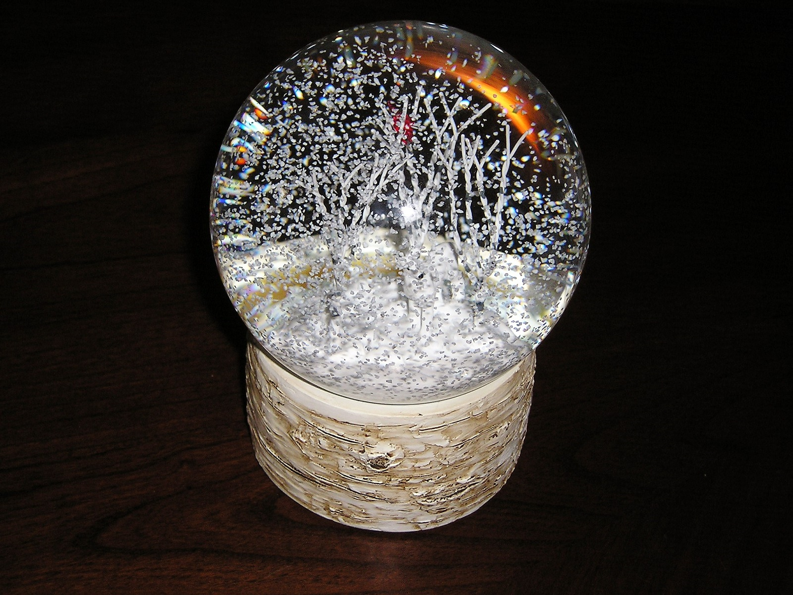 Deer in Birch Woods Snow Globe Cardinal Birch Bark Base Lots of Snow