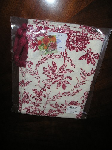 April Cornell FELICITYS FLOWERS Tablecloth 100 Cotton 48 x 48 Red Toile