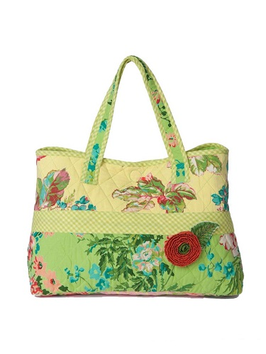 April Cornell Festival TOTE BAG Quilted Appliqued Double Handled Snap Close