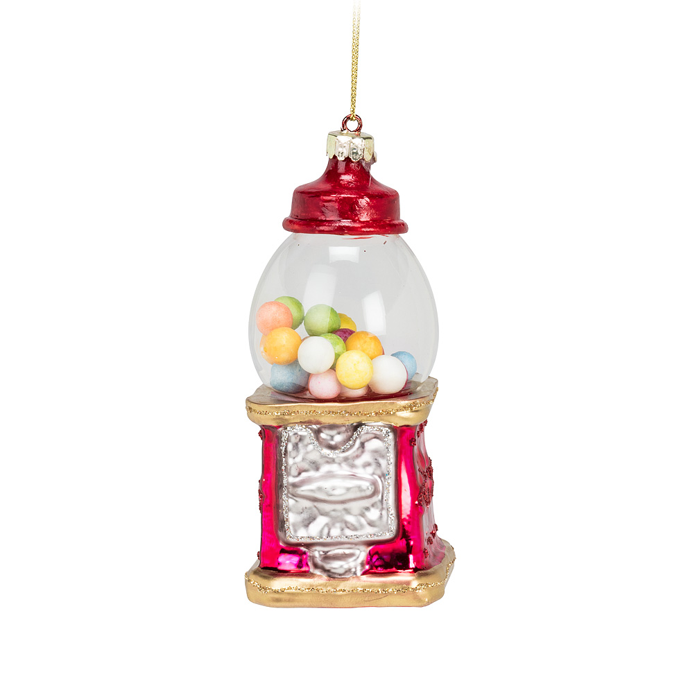 Glass Gumball Machine Christmas Ornament 4""