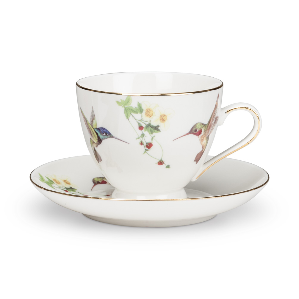 Bone China Hummingbird & Blossoms Cup / Saucer 2 Piece Set 10K Gold Accent