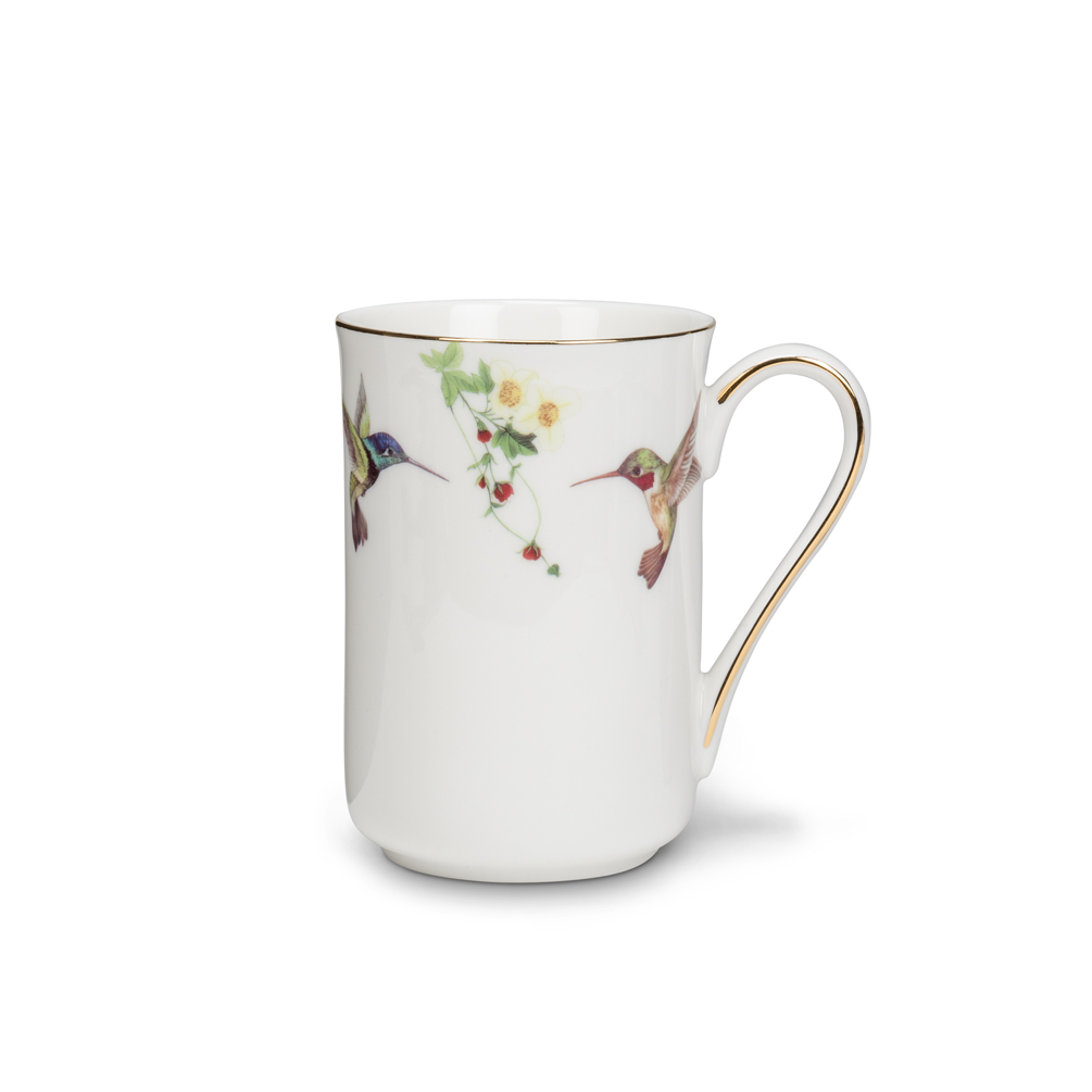 Bone China Coffee / Tea Mug Hummingbird & Blossoms 10K Gold Accents