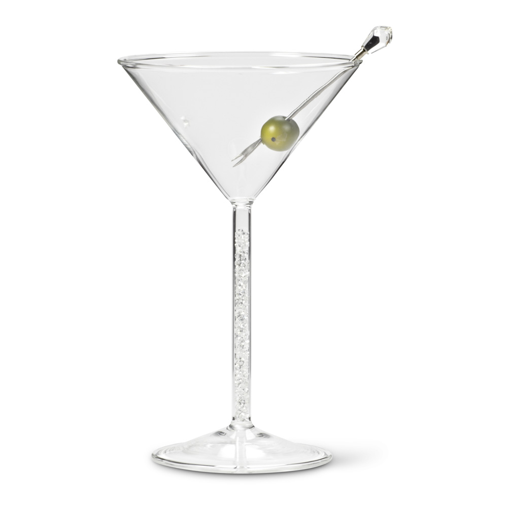 Cocktail Martini Glass with Gem Filled Stem