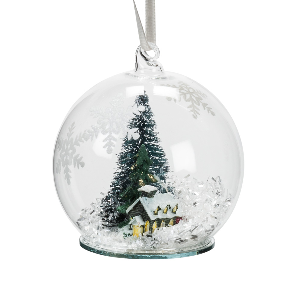 Snow Globe Winter Scene House and Tree Glass Christmas Ornament 3""