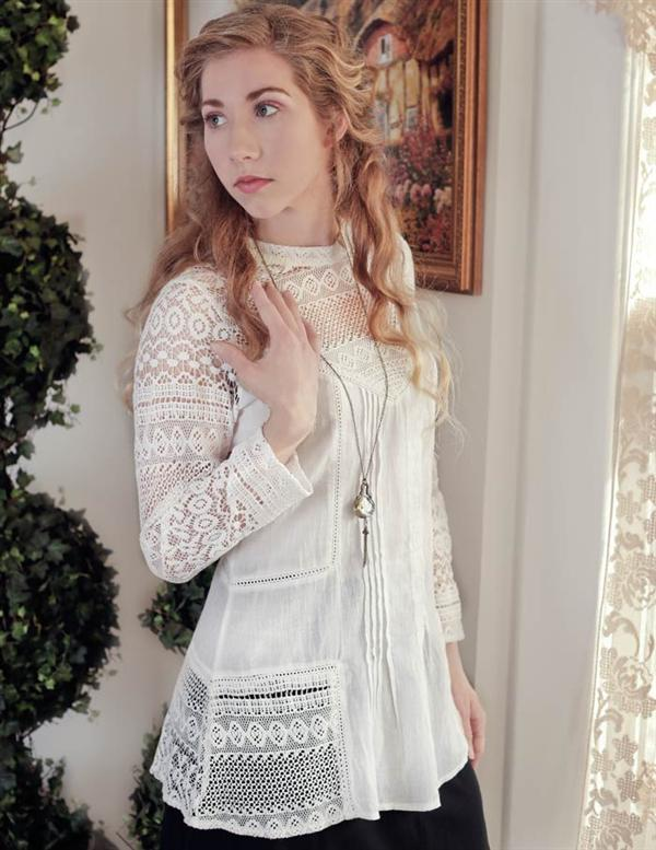 Amelie Lace Blouse Hand Worked 100% Cotton Large-XLarge