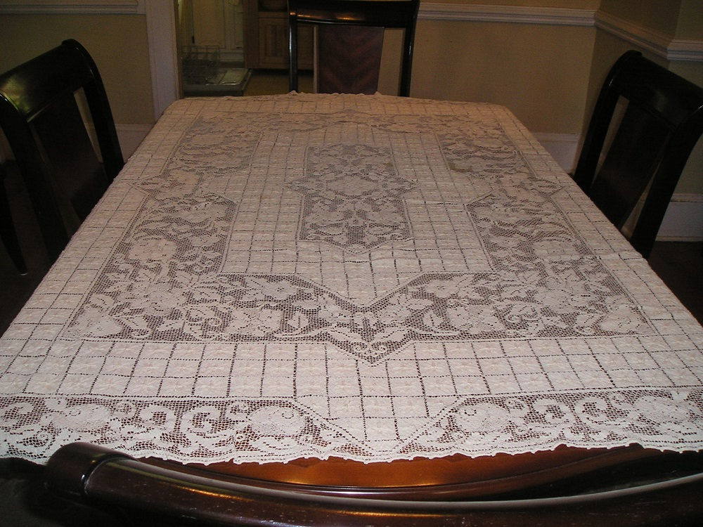 Antique Hand Crocheted Cotton Tablecloth Ecru 72 x 60