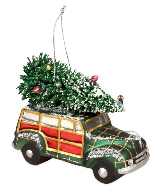 Bethany Lowe GLASS CAR & TREE Christmas Ornament