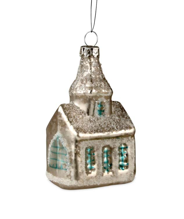 Bethany Lowe Glass Snow Covered Church Blue Windows w/Glitter Ornament 3""