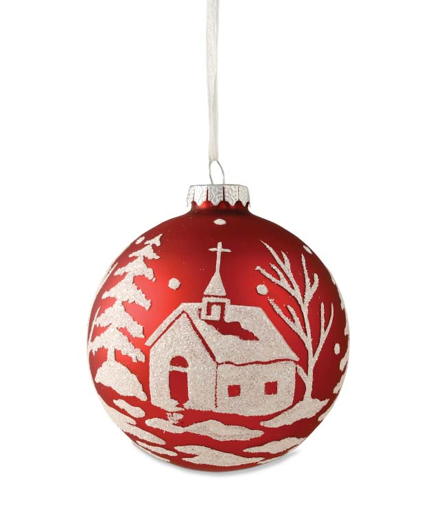 Bethany Lowe Red Ball Church Silhouette Scene Glass Christmas Ornament Large 4""