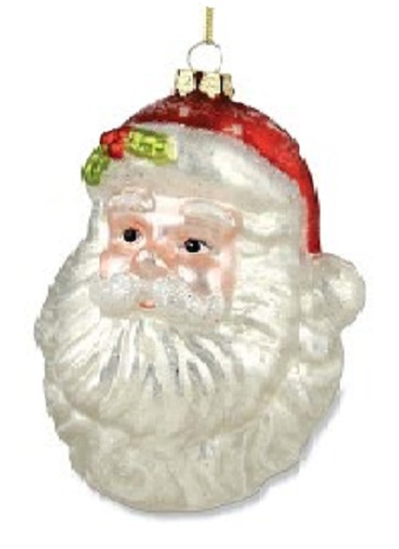 Bethany Lowe RETRO SANTA HEAD MERCURY GLASS ORNAMENT Large Extra Long Beard