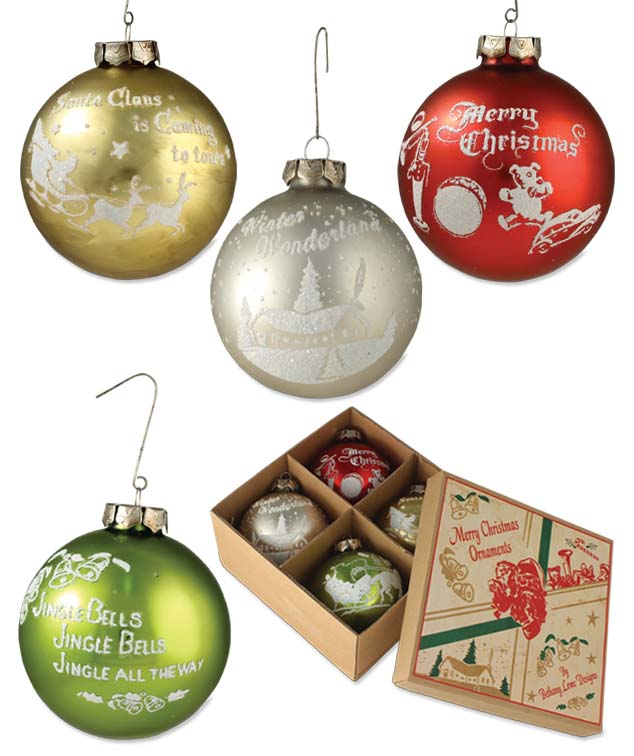 Bethany Lowe Traditional Silhouette Glass Ornament Set of 4 Vintage Style Boxed