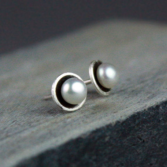PEARL & Sterling Silver Stud Earrings Bespoken Hand Made USA