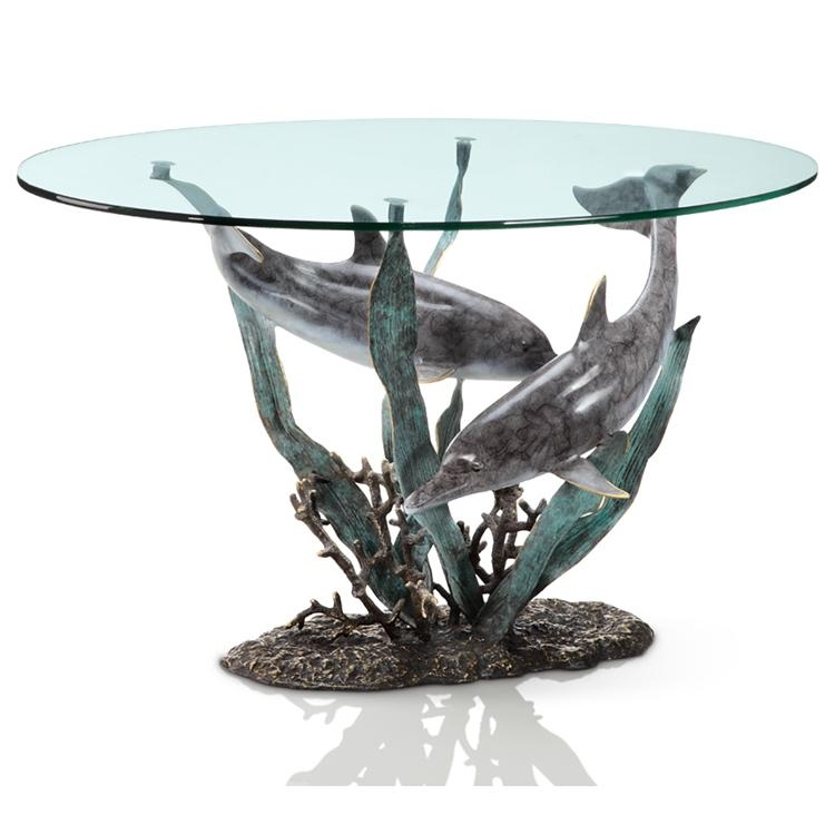 Dolphin Duet Table Patinated Brass & Glass