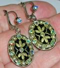Amazing Vintage Intricate Enamel  Rhinestone Oval Dangle Earrings