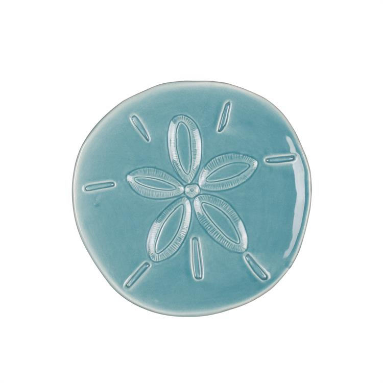 Fitz and Floyd CAPE CORAL SAND DOLLAR Snack Plate Teal
