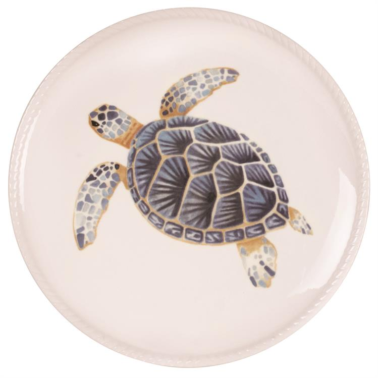 Fitz and Floyd CAPE CORAL TURTLE Porcelain Accent Plate 8.5""