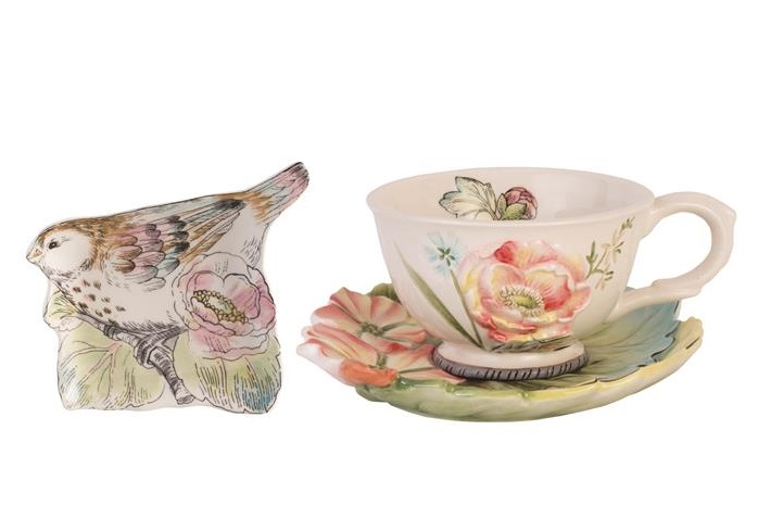 Fitz and Floyd ENGLISH GARDEN Tea Cup Saucer Rest 3 pc Set