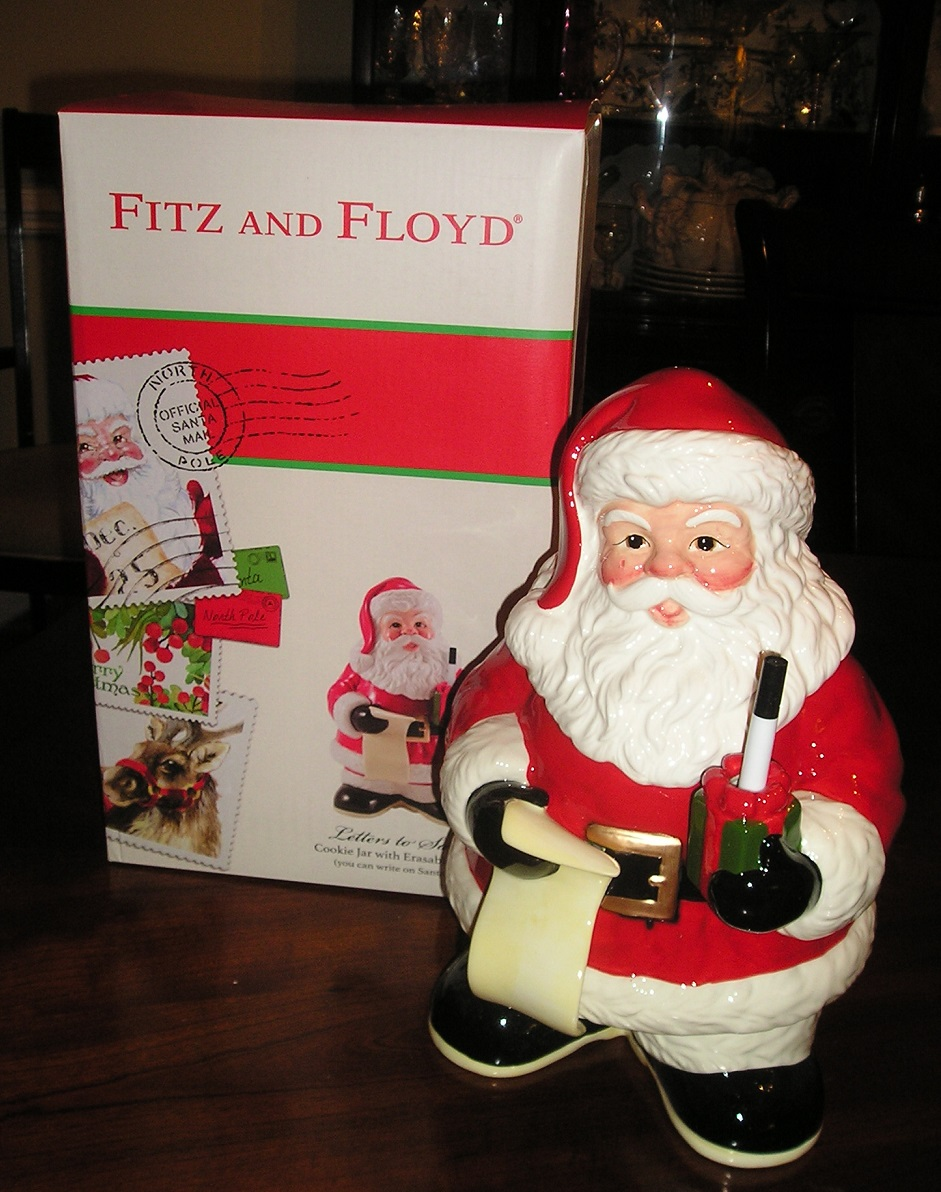 Fitz and Floyd LETTERS TO SANTA Cookie Jar w/ Dry Erase Marker